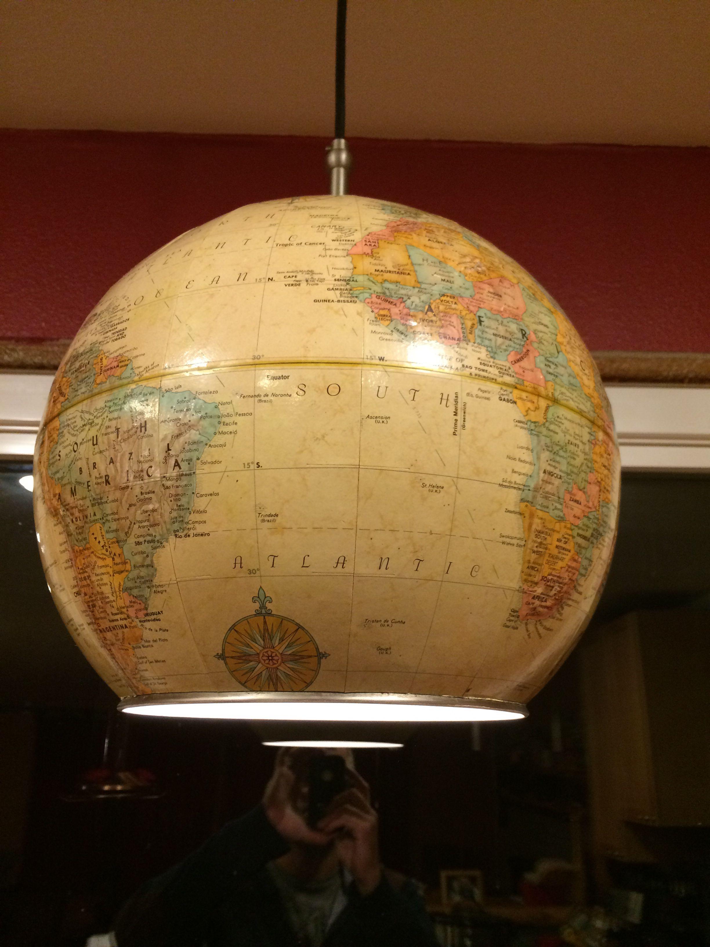 Upcycled Globe Into A Pendant Light Globe World Globes Pendant