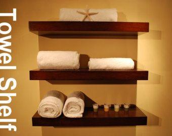 Holidays Decor Bathroom Shelf / Wood Floating Wall Shelves / Set Of 3 /  Walnut Color