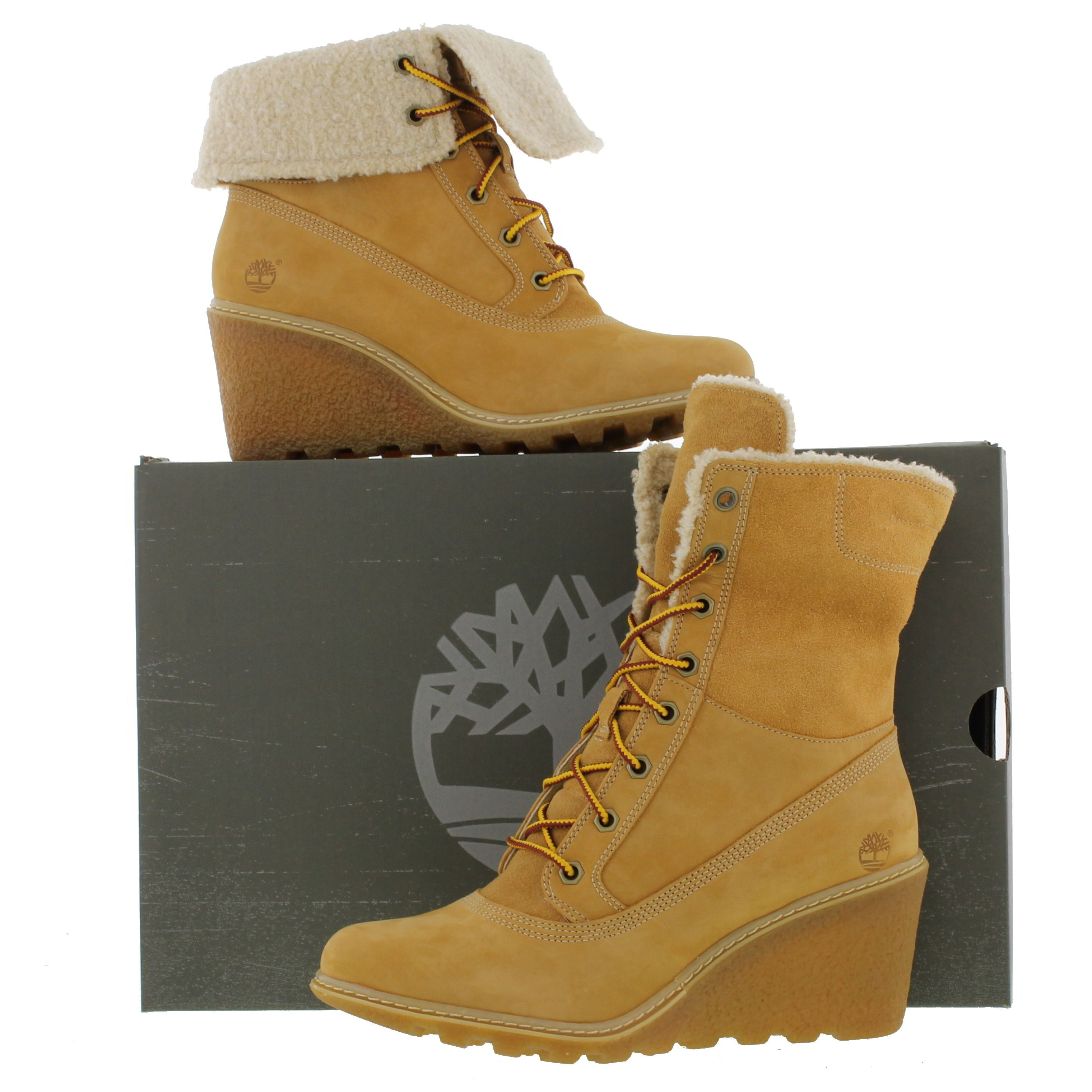 Timberland Womens Earthkeeper Amston Roll Top Wedge Boots - Wheat - £108.99 5f3671629f21