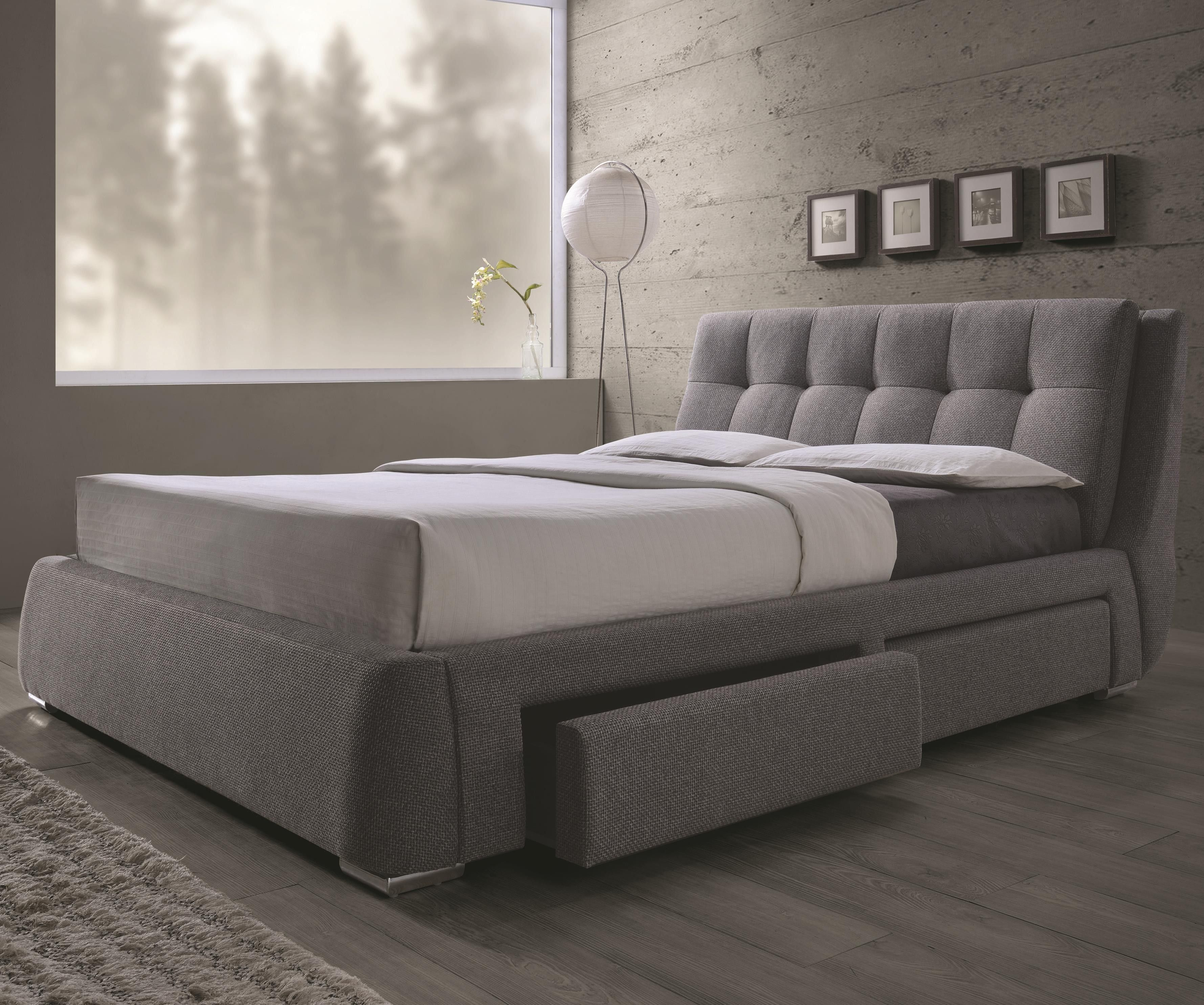 coaster 300523ke fenbrook grey upholstered eastern king storage bed