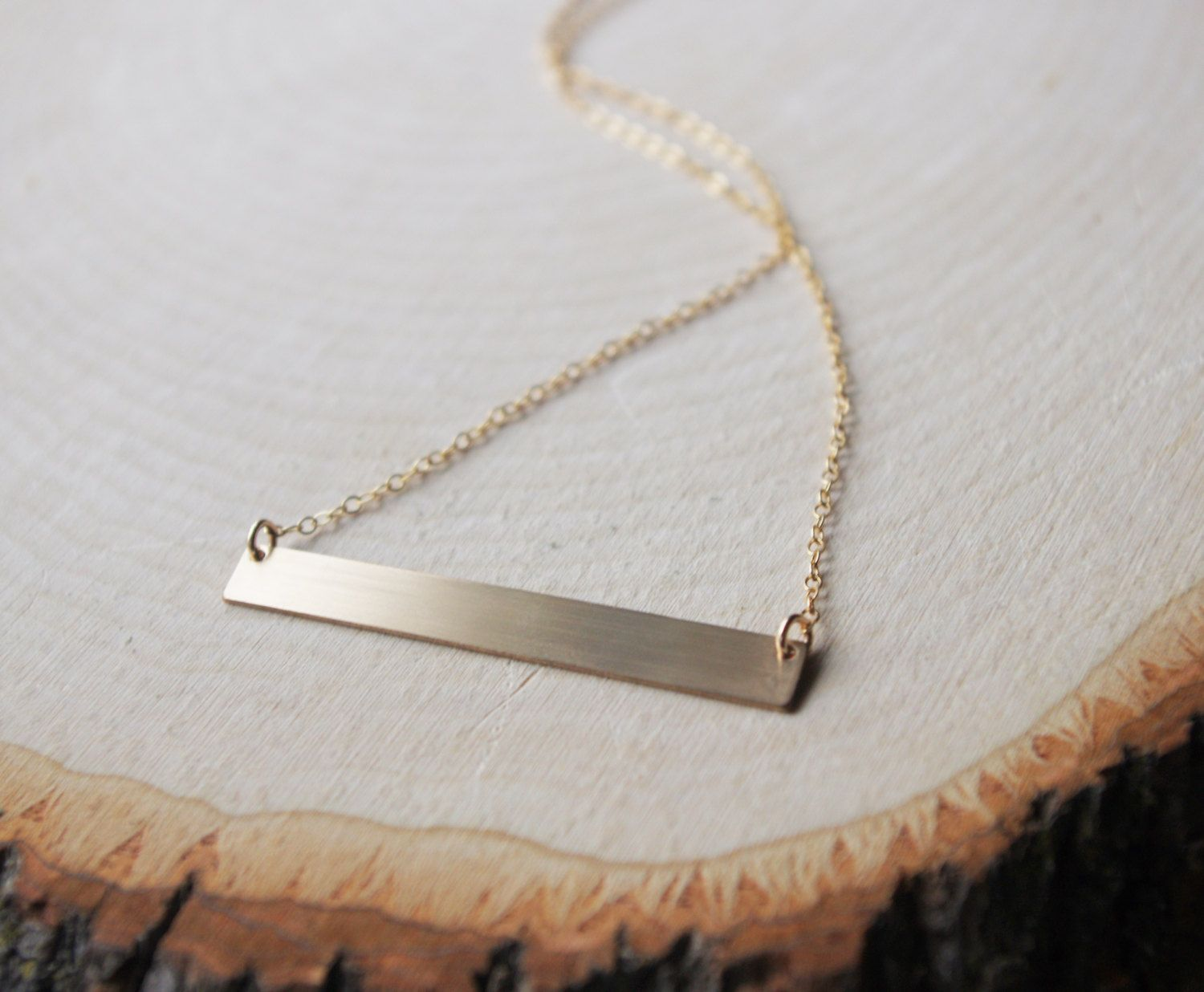 3b3edd2e4c4302 14k Gold Fill Brushed Bar Necklace by TokenJewelryDesigns on Etsy ...
