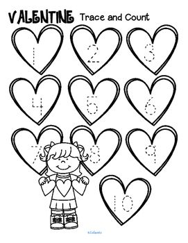 Valentine's Day Trace and Count Printables FREE ...