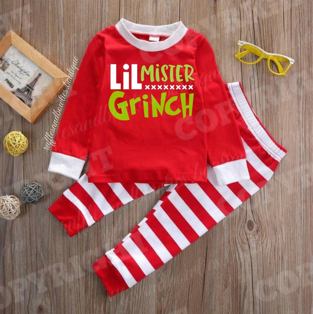 EXCLUSIVE*** Boys Red and White Little Mr. Grinch Holiday