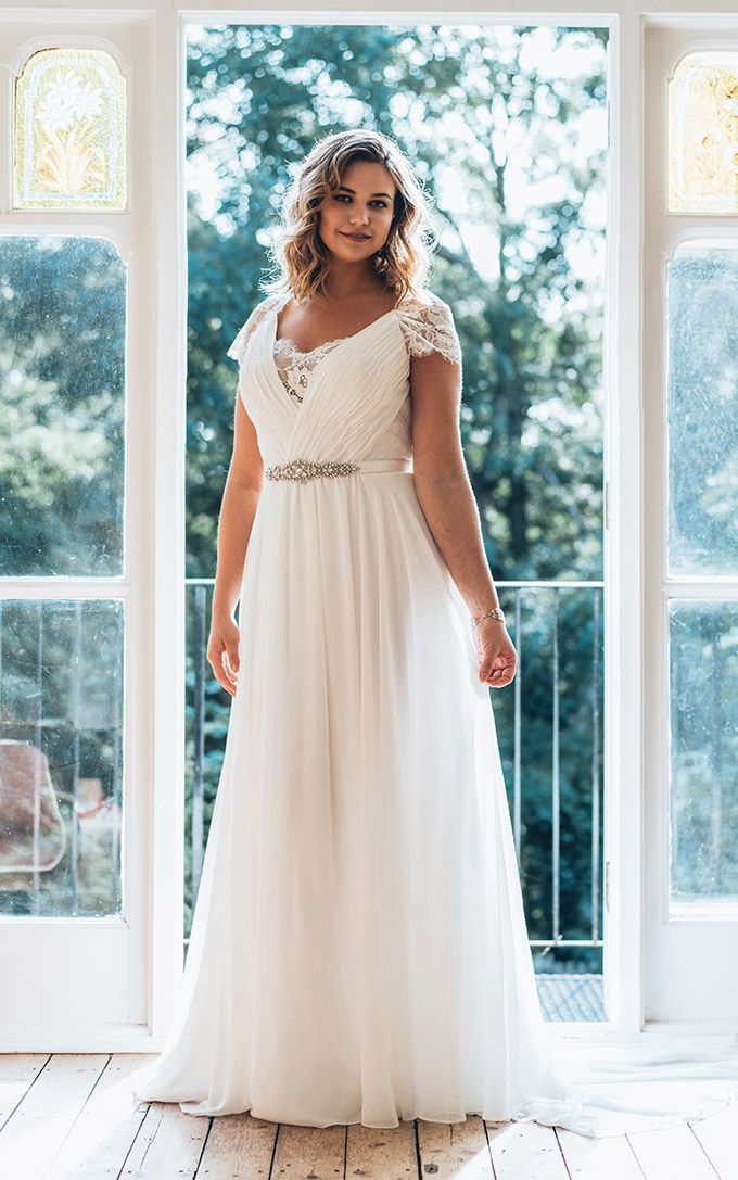 be3726c9832 Lace Cap Sleeve Plus Size Wedding Dress at  129.85 at June Bridals! We  offer off the shoulder wedding dresses