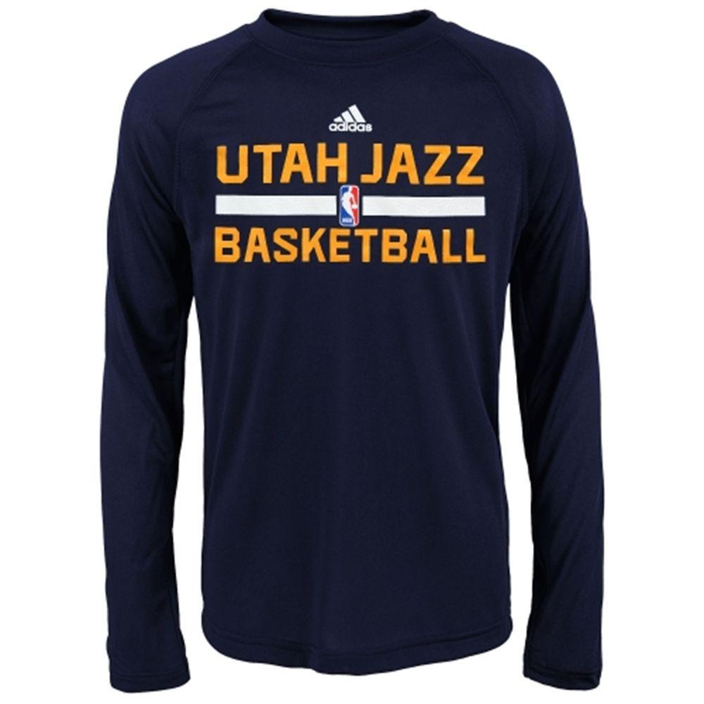 Utah Jazz adidas Youth Practice ClimaLITE Long Sleeve T