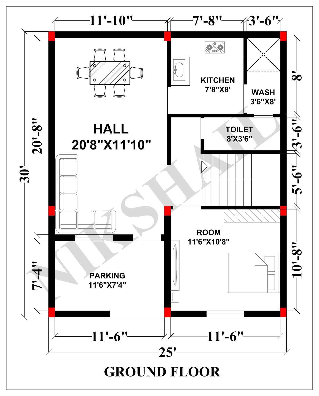 25x30 House Plan With 3d Elevation 750 Sqft House By Nikshail Micro House Plans 20x40 House Plans 20x30 House Plans