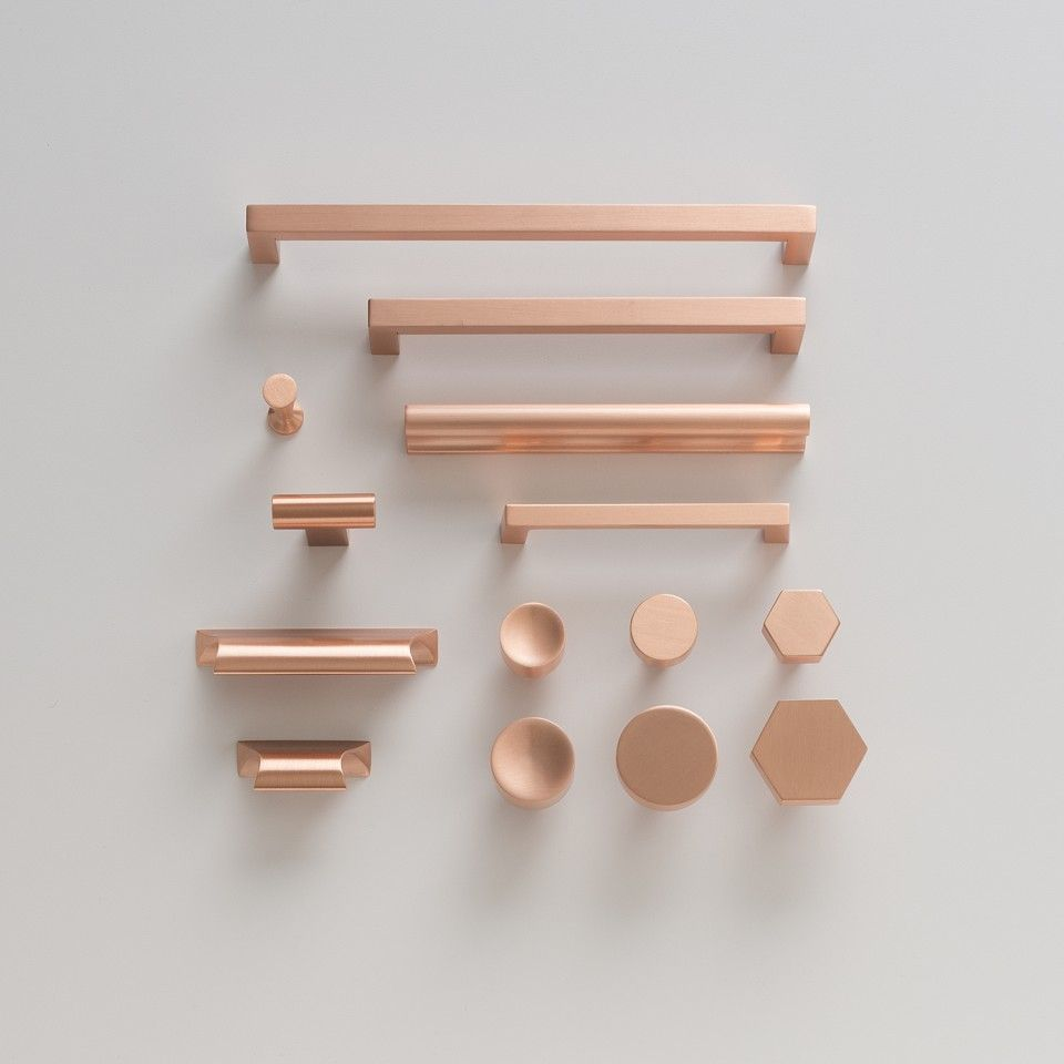 Mid century modern cabinet hardware - Card File Pull Satin Copper