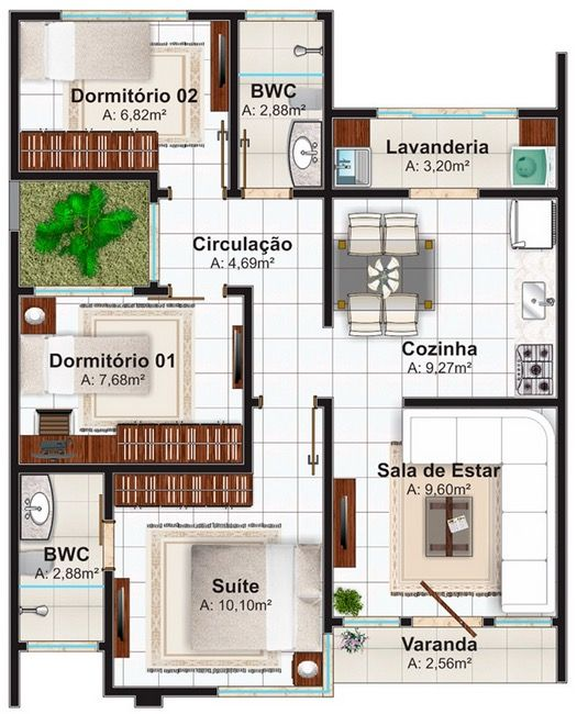 Plano De Casa 70 M2 3 Dormitorios Planos Gratis De Casas. Modern House  PlansHouse ...