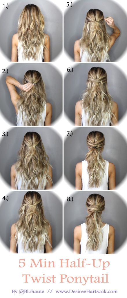 5 Minute Hairstyles To Go From Day To Night Desiree Hartsock Bridal Twist Ponytail Hair Styles Hair Braid Diy