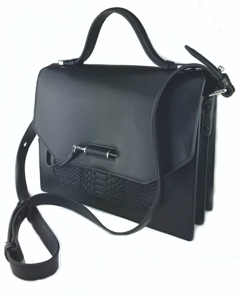 d440e08605 Single carry handle at top with metal hardware. Adjustable leather shoulder  strap at top. Accordion body with contrast croc-embossed suede panels