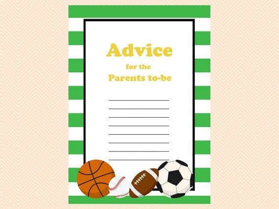 Sports Football Baseball Soccer Printable Baby Shower Mommy Advice Cards