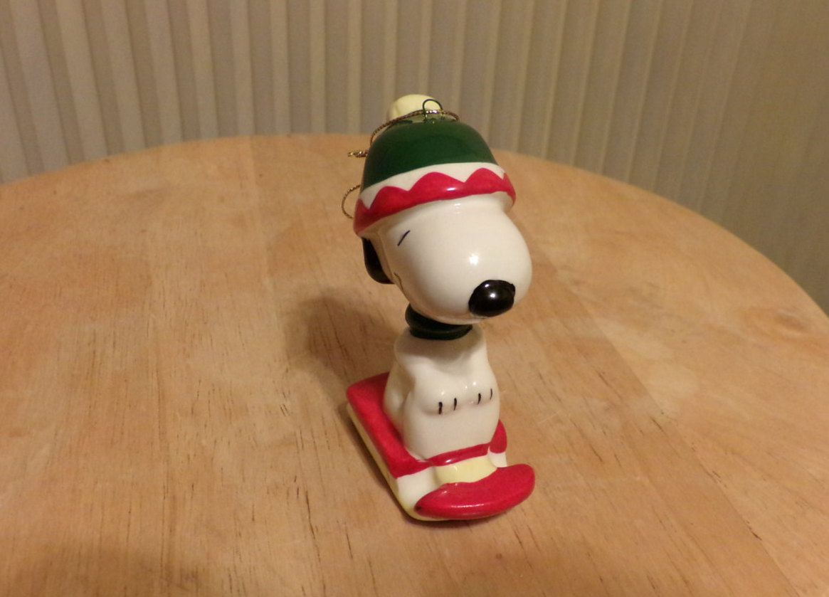 Vintage Snoopy on sled ornament, Snoopy ornament, Rare Snoopy ornament, Peanuts ornament, Snoopy by Morethebuckles on Etsy