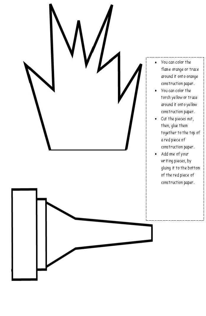Printable Olympic Torch Template Steve Minecraft Bible Crafts