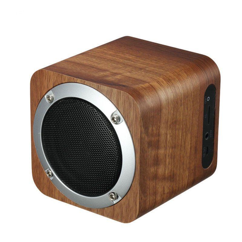 Fashion cube Retro wooden bluetooth speaker wood square radio FM ...
