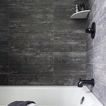 Rustic Wood Like Tiles in Drop In Bathtub tile ideas for bathroom
