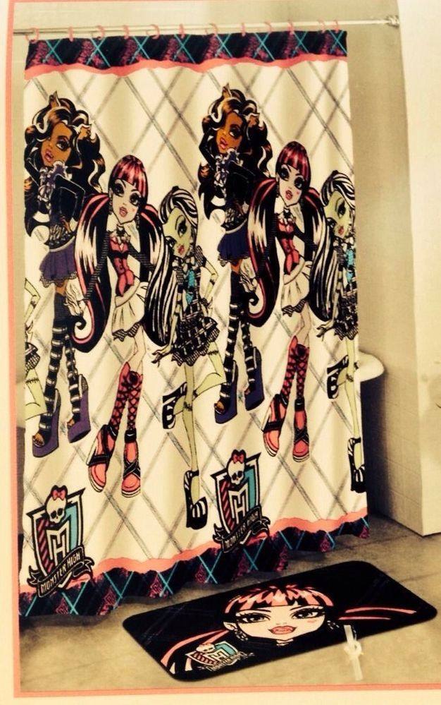 Monster High Bathroom Decor Set With Shower Curtain Rug And Rings New