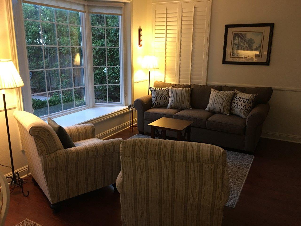 Living Spaces Rachel Sofa, Milari Linen Chairs, Anderson 400 Series Bay  Window,
