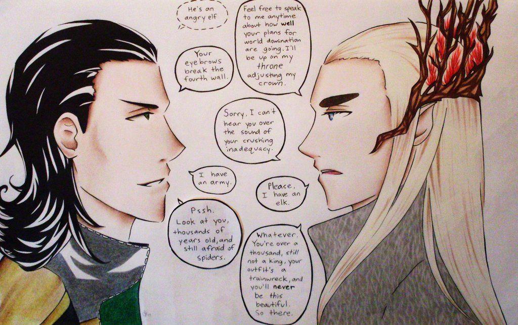 Loki vs  Fabulous Thranduil  Because how can you NOT put fabulous
