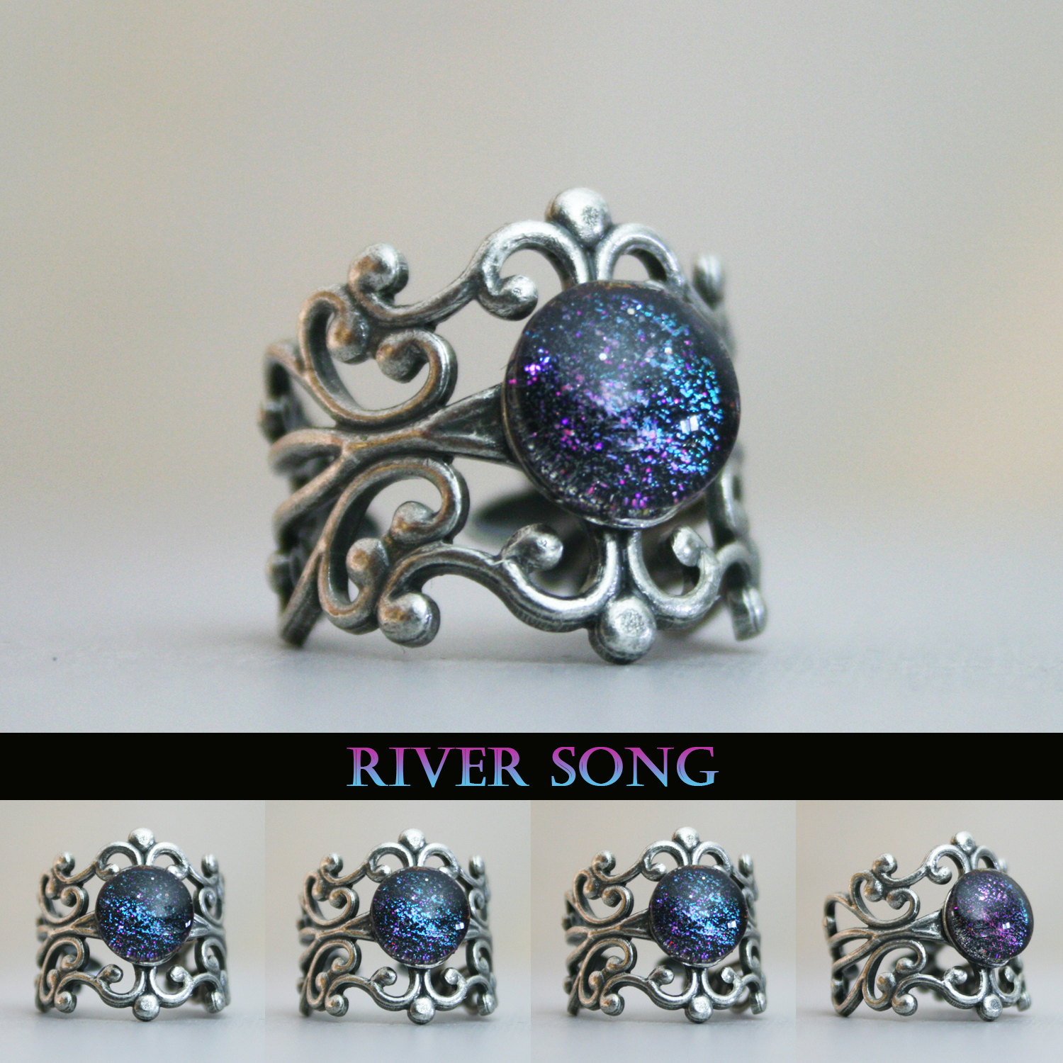 River Song Inspired Antique Silver Cuff Ring Rivers Songs and Ring