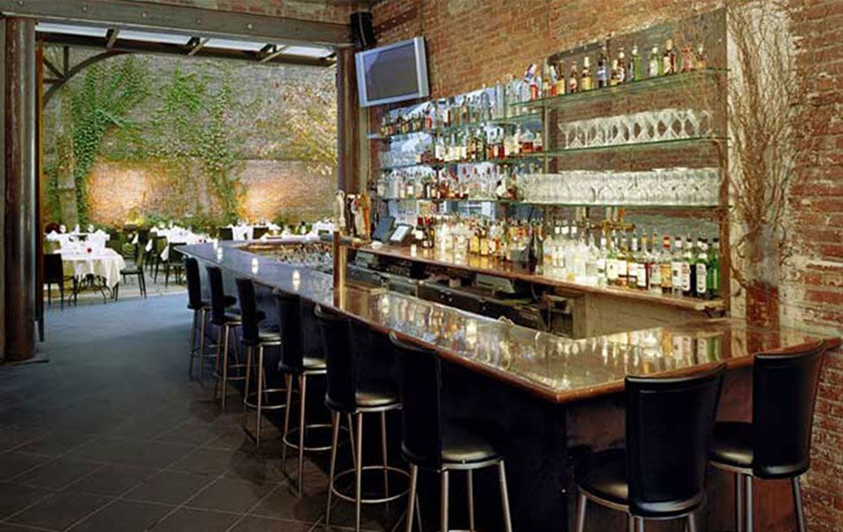 Revel Restaurant Bar Year Round Garden Meatpacking Nyc Glass Display Shelves Outdoor Dining Glass Bar