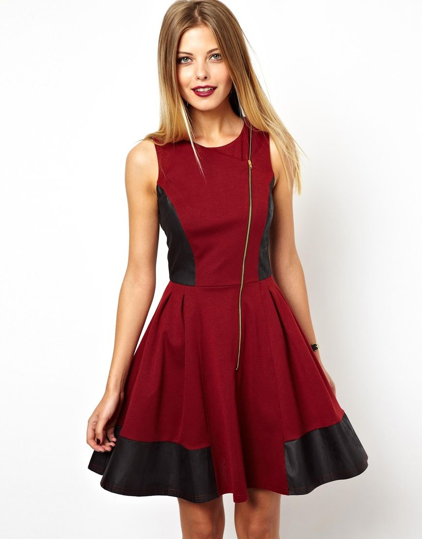 skater dress by asos collection made from a delicate poly
