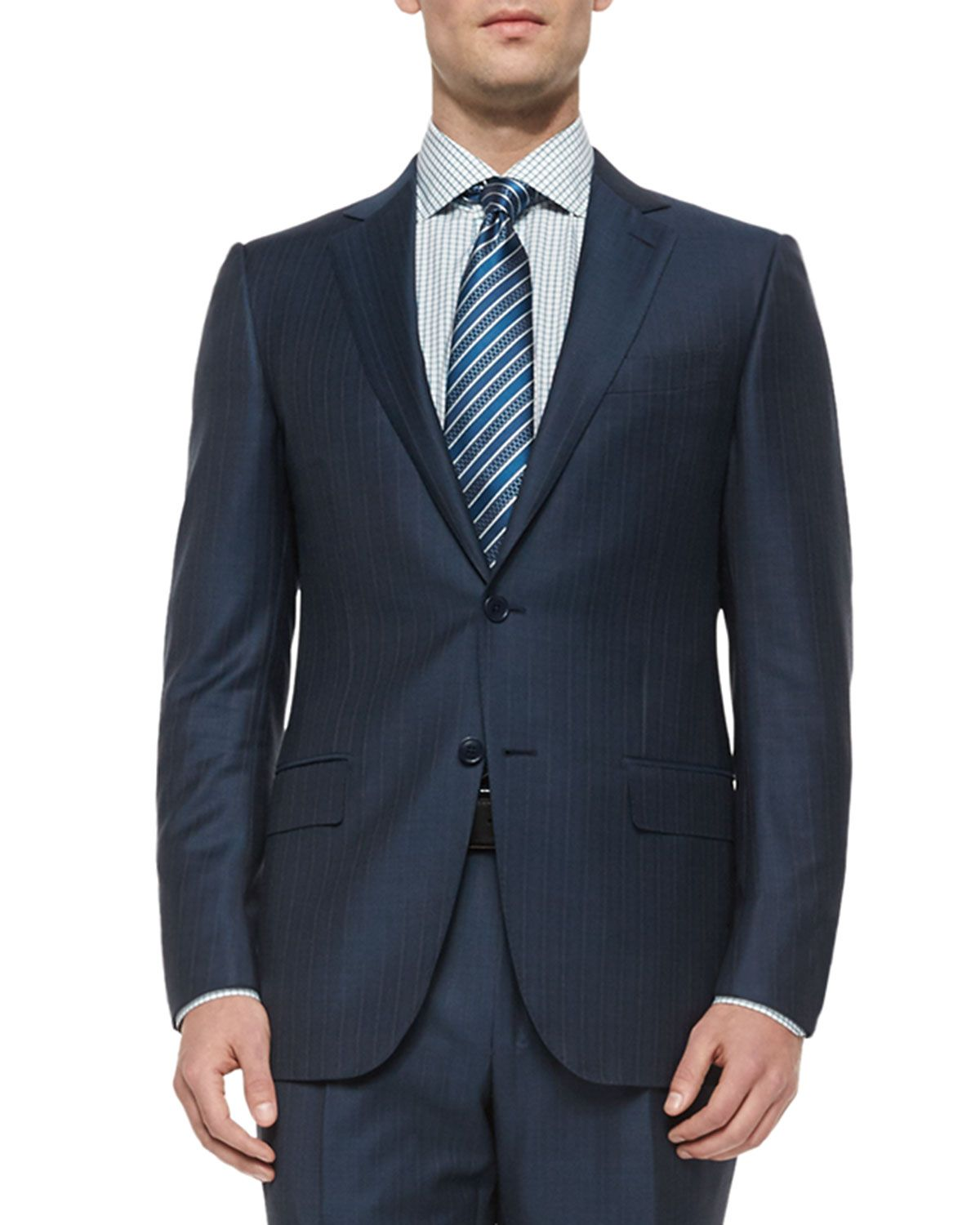 f38ded9f Trofeo Wool Striped Suit Steel Blue   *Suits > Pant Suits*   Suits ...