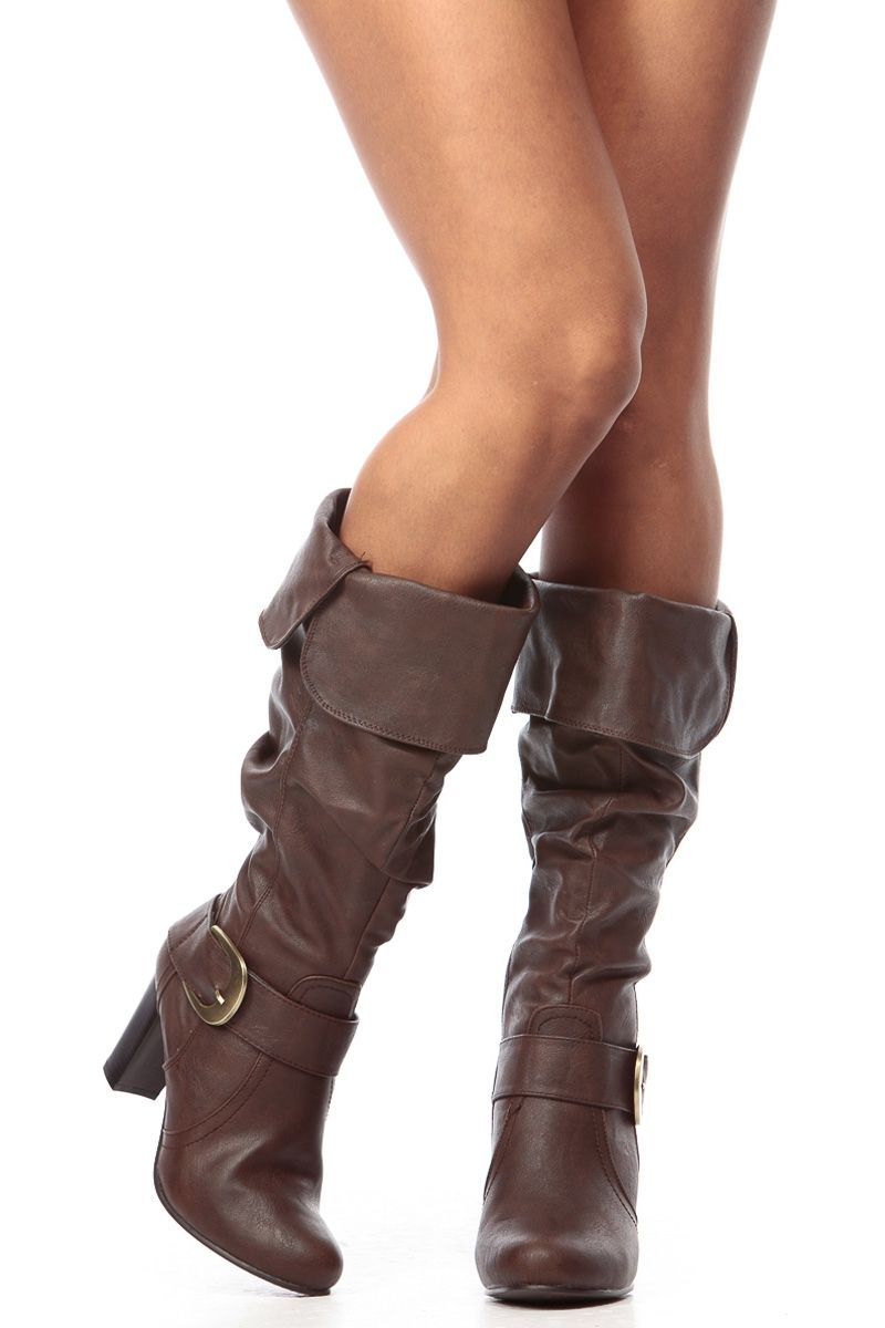 Brown Faux Leather Slouch Calf Length Chunky Heel Boots   Cicihot Boots  Catalog women s winter boots 17ecf1e0e03a