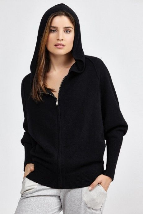 The Lush Zip Hoodie by Nesh is made of 100% cashmere and features a full hoodie and zip front.