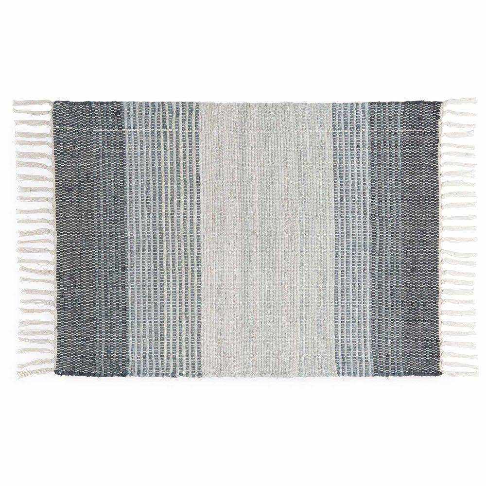 Tapis tressé en coton tricolore à rayures 90x60cm | Tapis tressé ...
