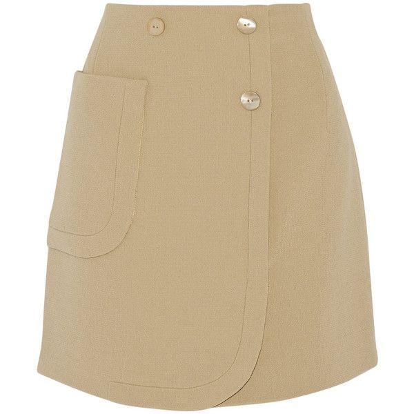 Carven Wool-crepe mini skirt ($170) ❤ liked on Polyvore featuring skirts, mini skirts, beige, woolen skirts, short mini skirts, wool skirt, button skirt and beige skirt