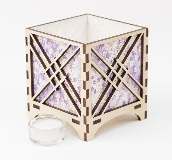 Japanese Shoji Lantern, Laser Cut Lantern, Wooden Lantern,Wooden Luminary,Wooden  Tealight
