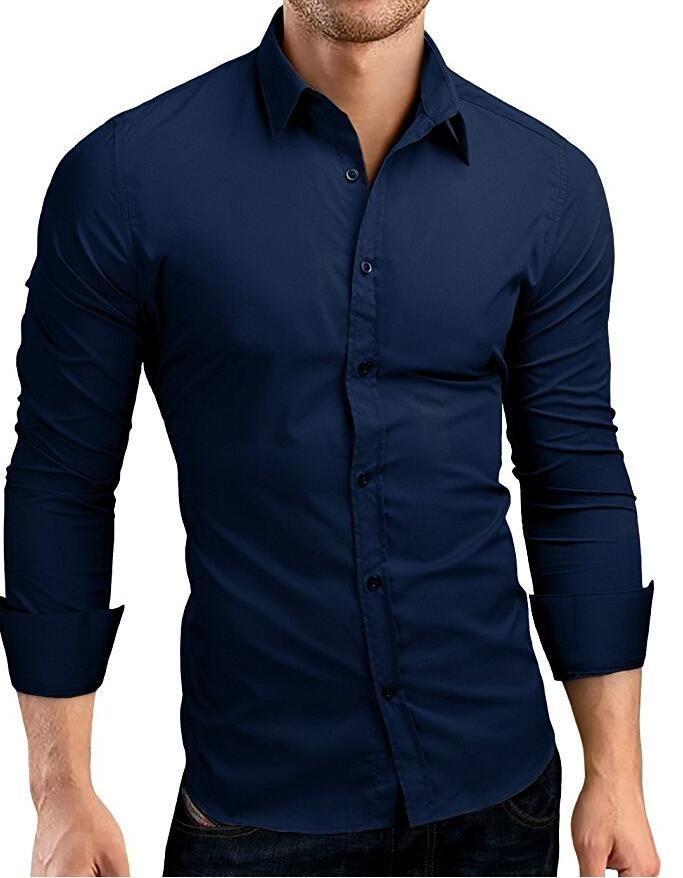 QINGYU Mens Shirt Brand 2018 Male Long Sleeve Shirts Casual Hit Color Slim  Fit Solid Color Men Dress Shirts XXXL MA92 567c720b9631