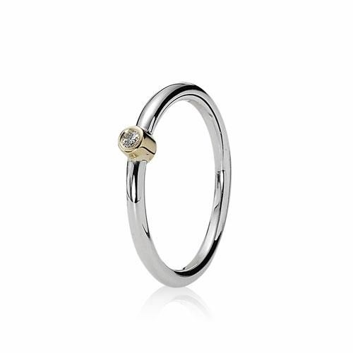 d4788fd83 PANDORA SILVER & 14CT GOLD DIAMOND RING £145 | Rings: Stack Them Up ...