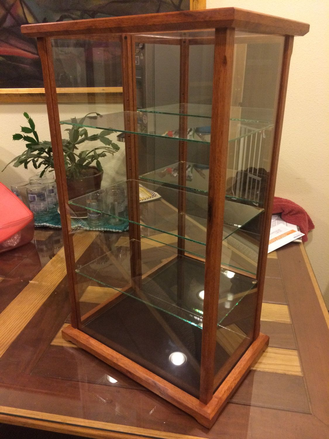 Wood And Glass Display Case For Miniatures Models Crystal Etsy Glass Display Case Glass Shelves Decor Floating Glass Shelves