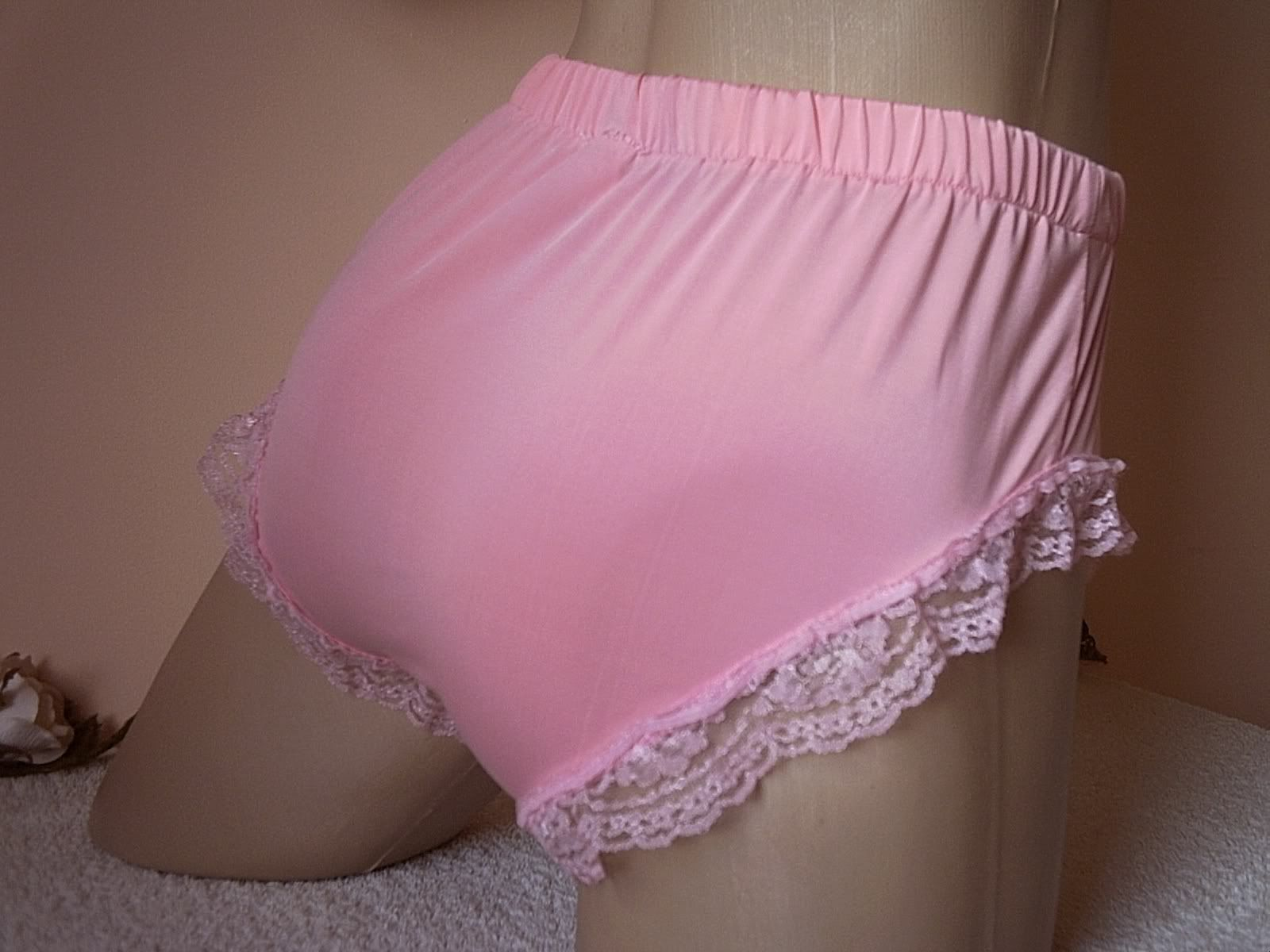 Frilly Sissy Tumblr in men's sissy baby pink silky stretch sleeved panties cute frilly