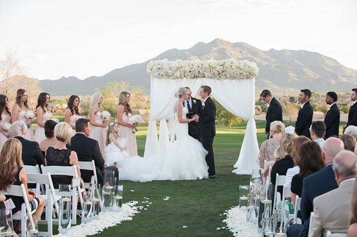 Arizona Desert Wedding at Seville with light pink and white romantic florals | Blume Events LLC