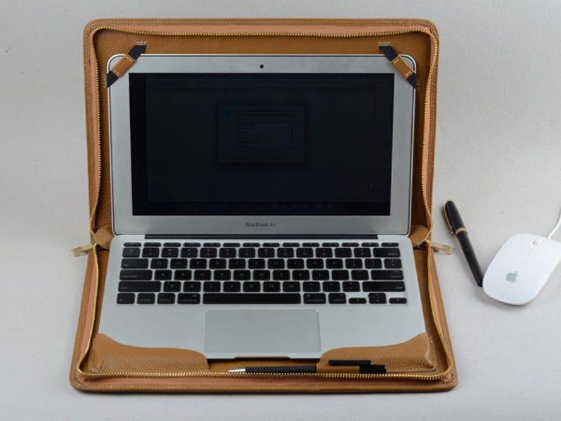 Macbook 12 Inch Business Portfolio Case With Leather Zipper Etsy Macbook Pro Sleeve Apple Macbook Macbook Air Case