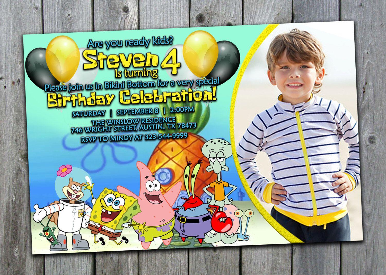 Spongebob Invitation Spongebob Birthday Invitations Spongebob