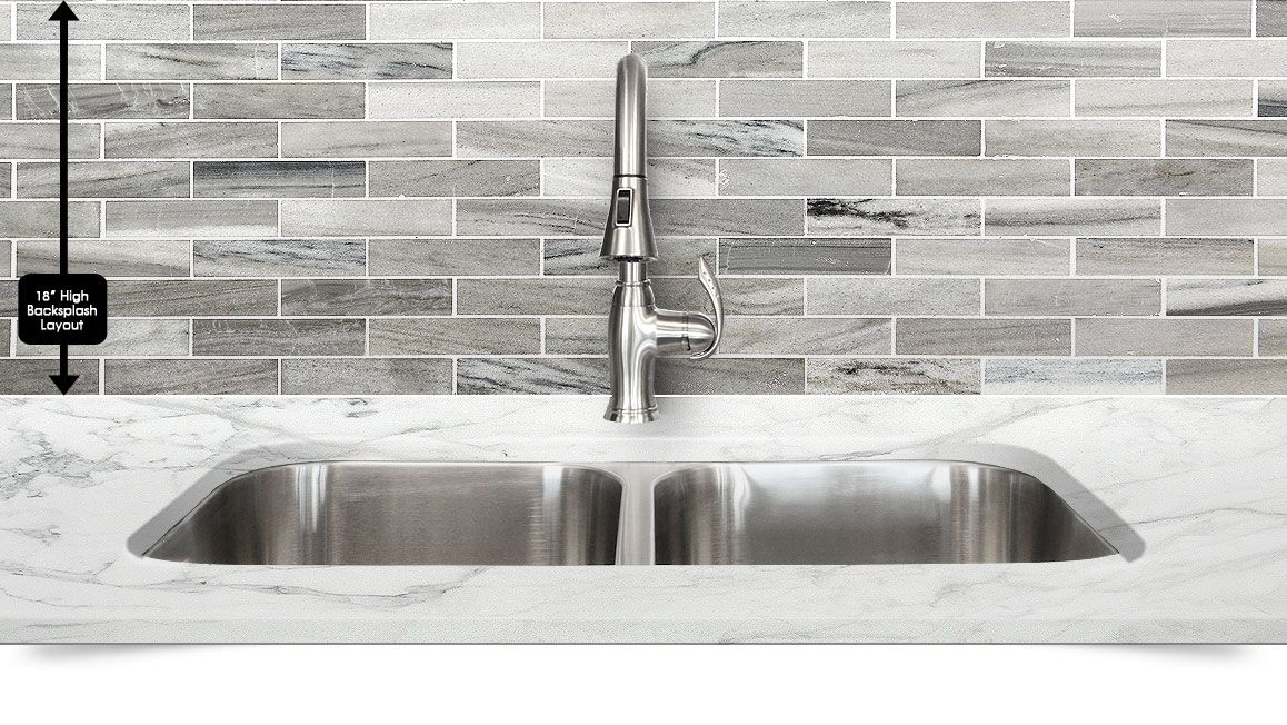 modern white gray subway marble