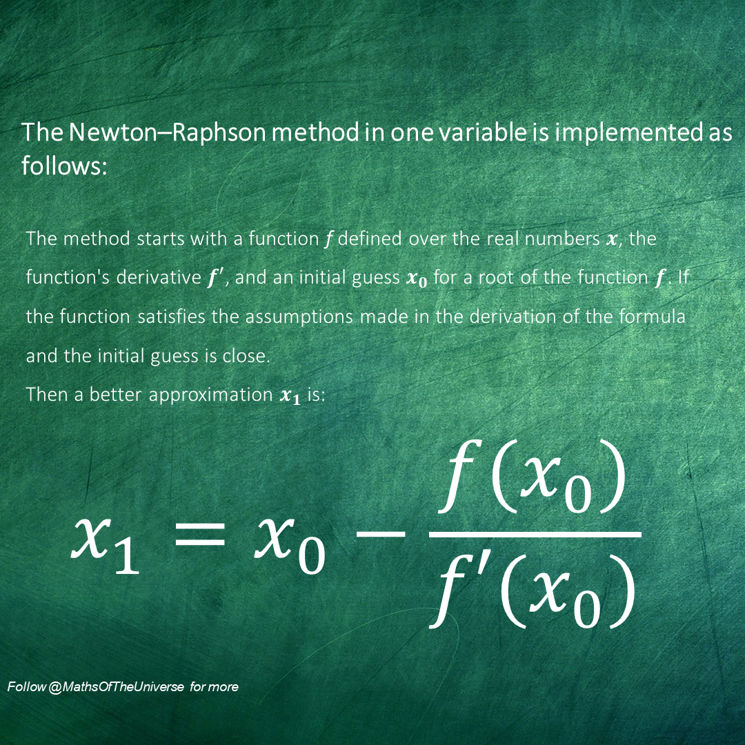 The Newton Raphson Method In One Variable Is Implemented As