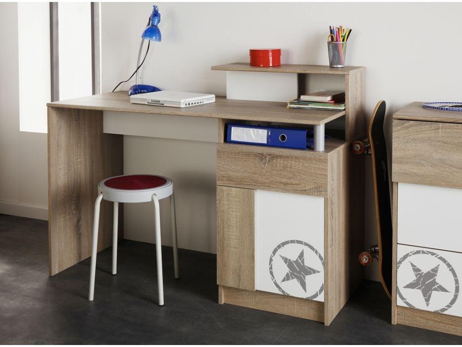 Bureau avec rangements erwan chêne et blanc le bureau dans