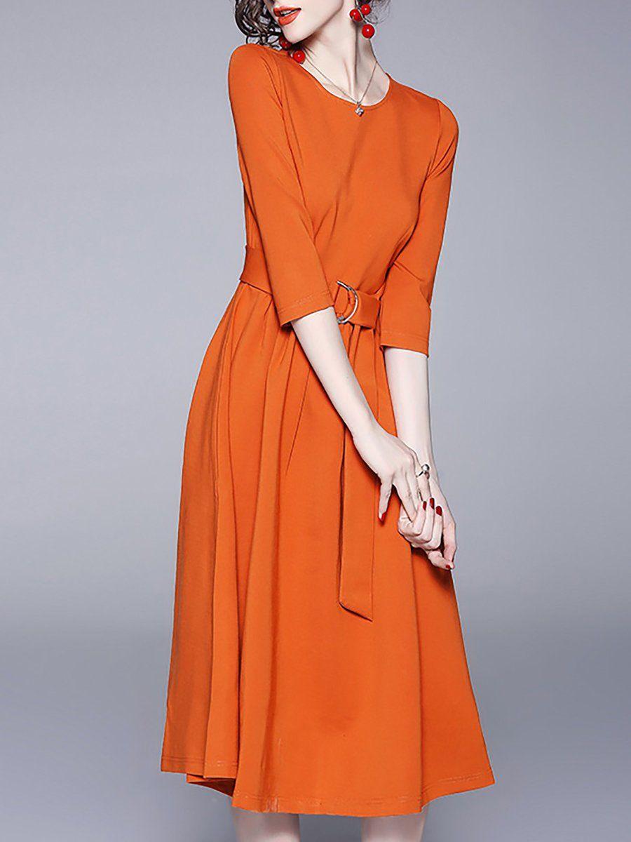 Stylewe Orange Crew Neck Casual 3 4 Sleeve A Line Daytime Midi Dress Fashion Midi Dress Midi Dress Work [ 1200 x 900 Pixel ]