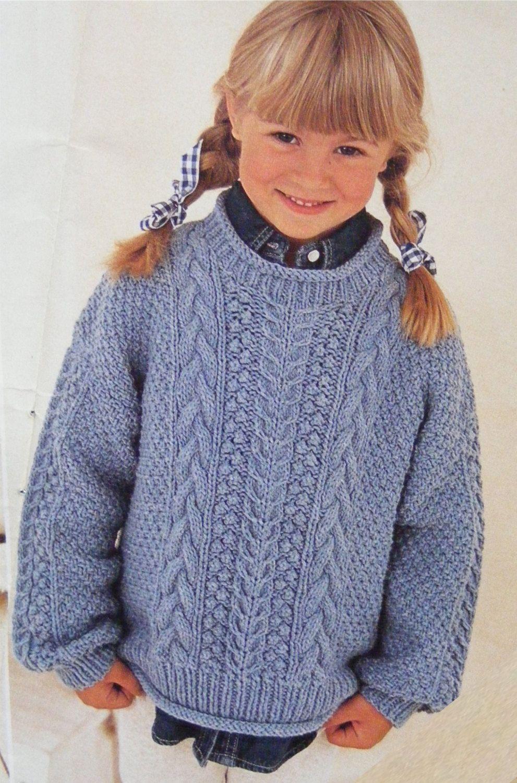 Childrens Aran Sweater Knitting Pattern PDF Boys or Girls ...