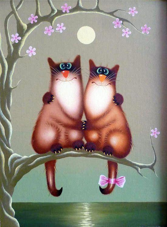 Прикольные рисунки коты кошки, днем рождения аванес
