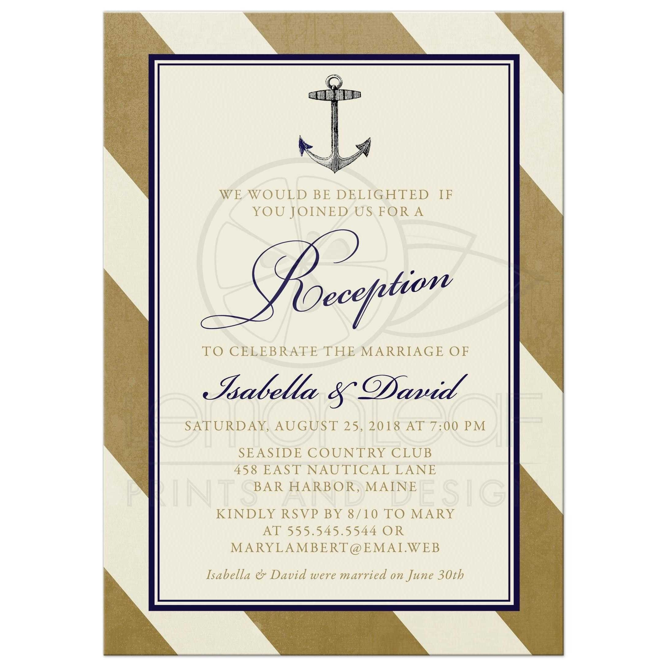 Casual Post Wedding Reception Invitation Camden Hopes Party