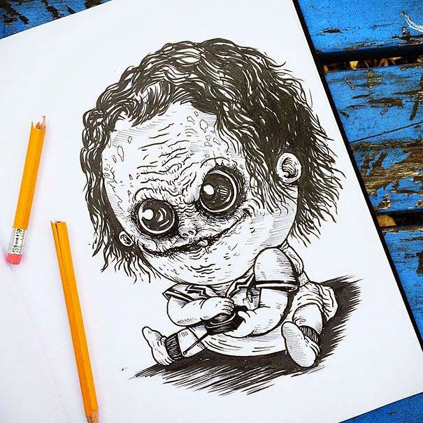 Baby Terrors Drawings Of Horror Movie Villains Alex Solis