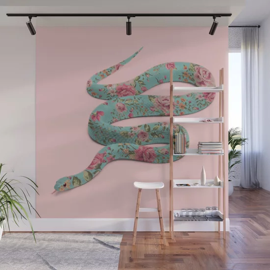 """""""FLORAL SNAKE"""" Wall Mural by Paul Fuentes on Society6 