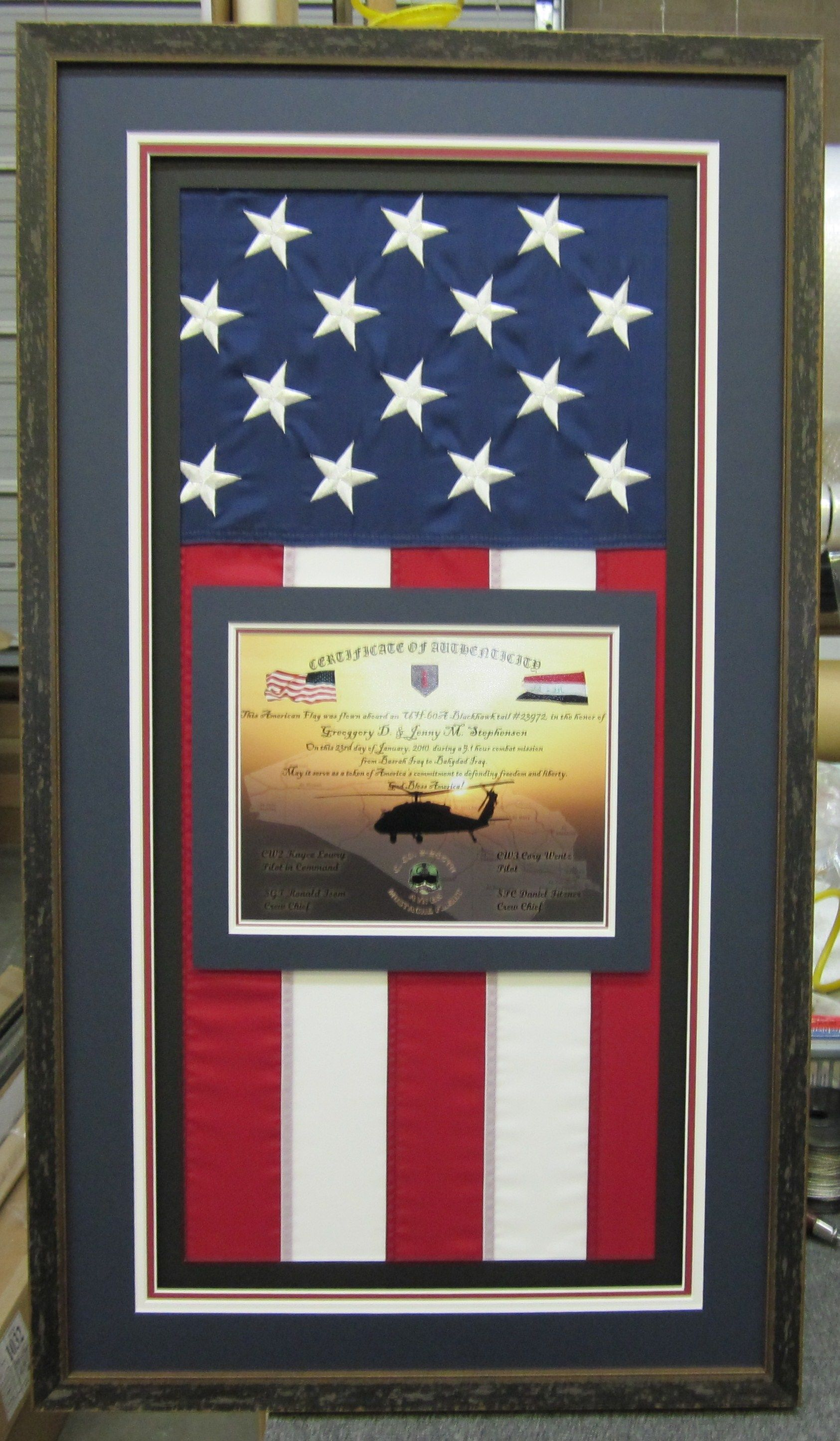 This Flag Was Flown Over Iraq In Honor Of Greggory And Jenny Stephenson Serving As A Token Of America S Commitment Flag Display Flag Display Case Framed Flag