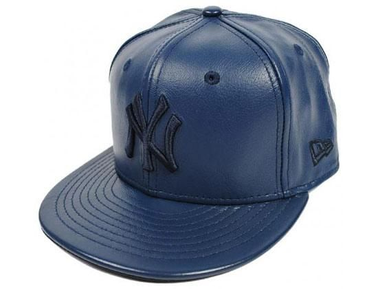 Navy Leather New York Yankees 59Fifty Fitted Cap by NEW ERA x MLB ... 8033bfecd18