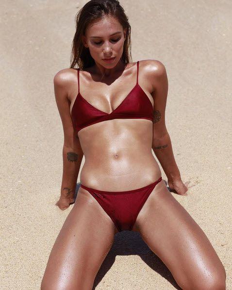 1fbab34c66d19 Joanne McKay sizzles in ruby red bikini set by Storm Swimwear  www.stormswim.com